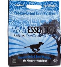 Vital Essentials Beef Entree Pet Patties Grain-Free Freeze-Dried Dog Food, 1.875-lb bag